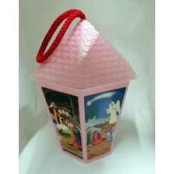 Lampion adwentowy  (różowy) - 16 cm