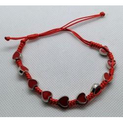 Bransoletka - dziesiątka różańca - serduszka czerwone