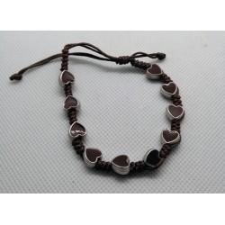 Bransoletka - dziesiątka różańca - serduszka brązowe