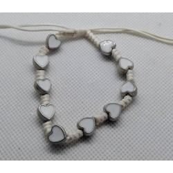 Bransoletka - dziesiątka różańca - serduszka białe