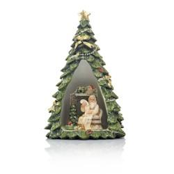 Choinka ze Świętym Mikołajem - figurka podświetlana