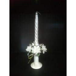 Świecznik ze świeczką - zestaw srebrny