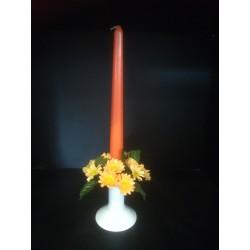 Świecznik ze świeczką - zestaw pomarańczowy