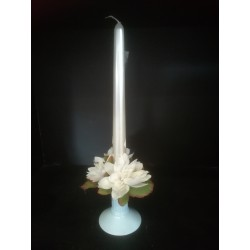 Świecznik ze świeczką - zestaw biały