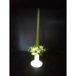 Świecznik ze świeczką - zestaw zielony